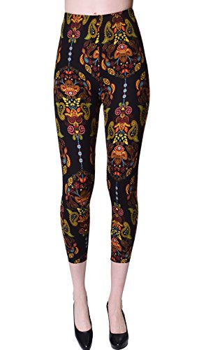 (VIV Collection Plus Size Printed Brushed Capris (Middawn Mask))