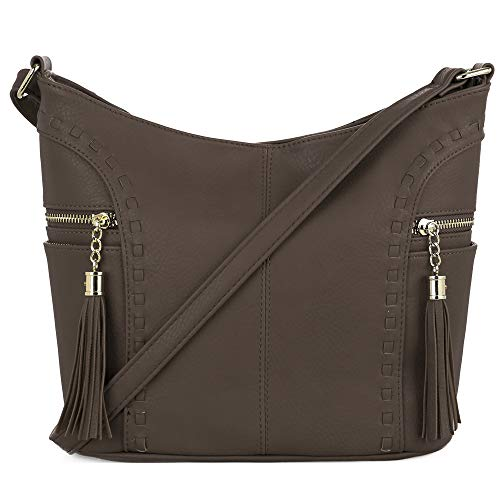DELUXITY | Crossbody Hobo Slouch Bucket Purse Bag | Side Pockets with Tassel | Adjustable Strap | ()