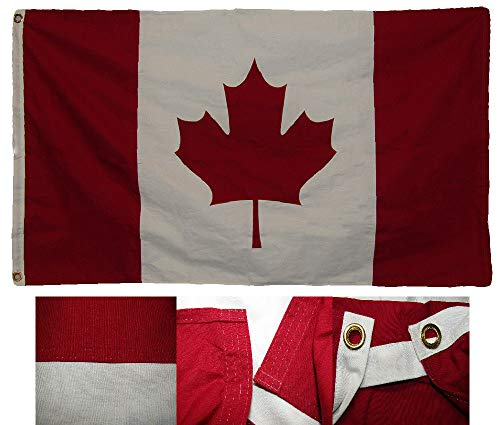 (ALBATROS 3 ft x 5 ft Embroidered Canada Country Premium Quality 100% Cotton Flag Clips for Home and Parades, Official Party, All Weather Indoors Outdoors)