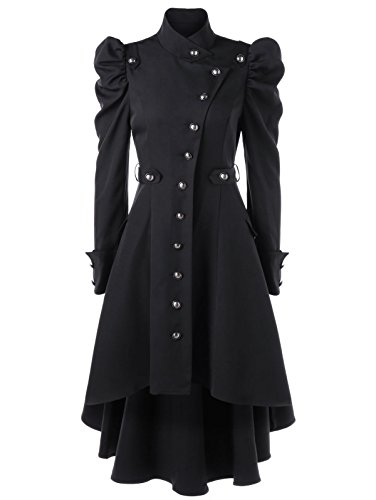 Nihsatin Vintage Steampunk Victorian Swallow Tail Long Trench Coat Jacket Puff Shoulder Single Breasted Black