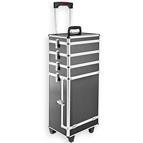 Torrex Kosmetikkoffer / Schminkkoffer aus Aluminium 76,5x31x24 cm mit Teleskopgriff in 3 Farben Beautycase Trolley (Schwarz)