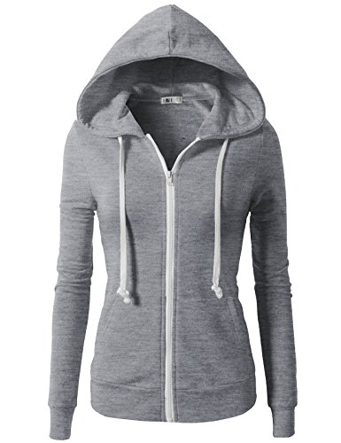 H2H Womens Casual Plain Or Thermal Knitted Solid Zip-up Hoodie Jacket Gray US L/Asia L (CWOHOL020) ()