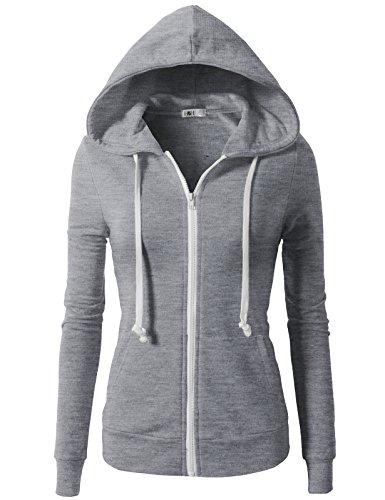 H2H Women's Active Regular Fit Basic Thermal Zip-Up Hoodie Gray US M/Asia M - Length Overcoat Full Womens