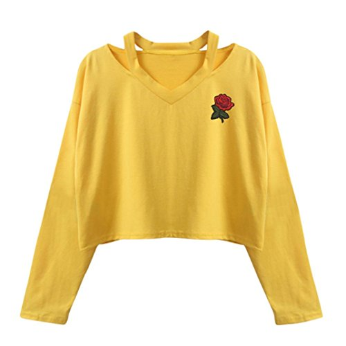 Women Tops, Gillberry Women Newest Cold Shoulder Soild Color Knitted Long Sleeve Pullovers Sweaters (Yellow, - Newest Eyewear