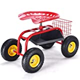 totoshopcart New Red Rolling Garden Cart with Tool Tray Work Seat Heavy Duty Gardening Planting