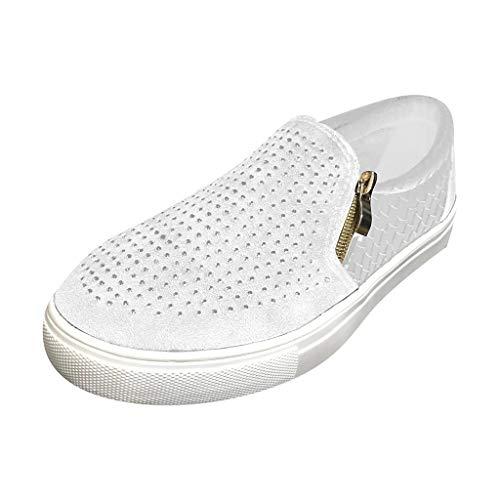 Duseedik New Women's Slip On Sneakers Casual Zipper Flat Slip On Rhinestone Side Zipper Pumps Single Shoe White
