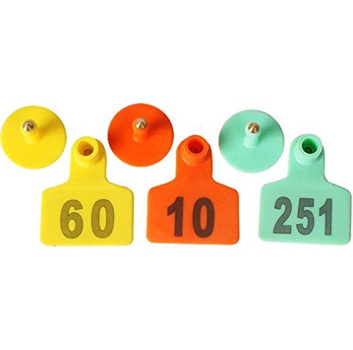 1-100 Number Ear Tag For Sheep Pig Set Of 100 (Orange) - 2