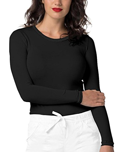 Adar Pop-Stretch Tonal Long Sleeve Fitted Scrub Tee - 3402 - Black - M Cotton Stretch Long Sleeve Tee