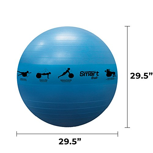 Prism Fitness 75cm, Blue Smart Self-Guided Stability Ball Exercise Ball for Exercise, Yoga, Pilates, Office Ball Chair and More, 13 Exercises Printed on Ball for Easy Reference