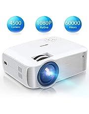 TOPVISION Heimkino Beamer, Native 1080P Mini Beamer Full HD, 4500 Lumen Video Projektor mit Maximalem 240'' Display, 60000 Stunden Lampenlebensdauer, Kompatibel mit HDMI/VGA/USB/AV/TV-Stick/PS4 usw