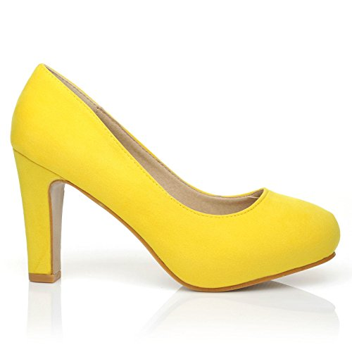 Yellow col donna Suede Scarpe Love UK giallo tacco ShuWish zwqf40R