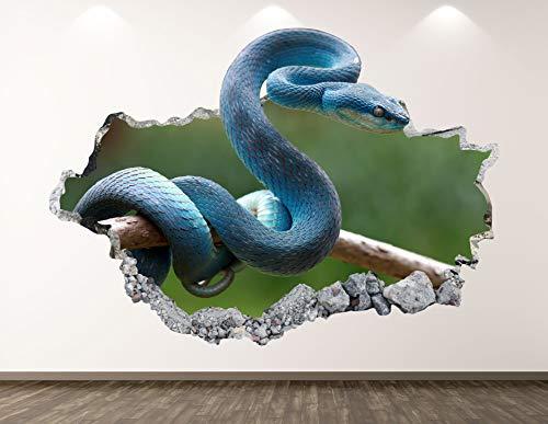 """West Mountain Blue Snake Decal Art Decor 3D Rattlesnake Sticker Mural Nursery Boys Gift BL34 (42"""" W x 24"""" H)"""