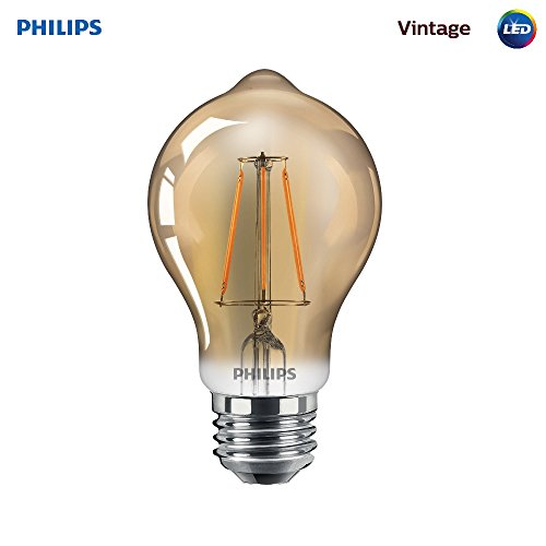 Philips LED Amber Glass A19 Dimmable Vintage Filament Light Bulb: 350-Lumen, 2000 Kelvin, 4.5-Watt (60-Watt Equivalent) E26 Base, Amber, 1-Pack