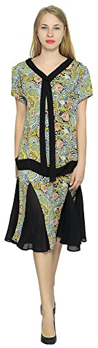 Marycrafts Women't Drop Waist 1920s Lined Floral Godet Dress S Floral 3 (1920s Dresses Plus Size)