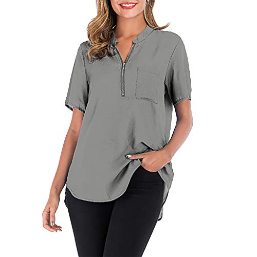 (Women's Casual Short Sleeve V-Neck Shirt Loose Tunic Blouse Plus Size Pure Color Short Sleeve Zipper Pocket Top MEEYA)