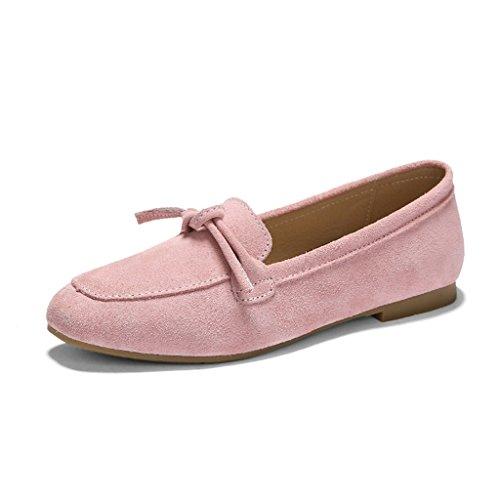 Zapatos para mujer HWF Zapatos de boca poco profunda primavera Zapatos planos Un pedal Zapatos perezosos Femenino (Color : Negro, Tamaño : 40) Pink