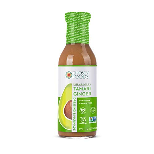 Chosen Foods Avocado Oil-Based Tamari Ginger Dressing and Marinade 12 oz., Non-GMO, Vegan, Gluten Free, Dairy Free, Canola Free