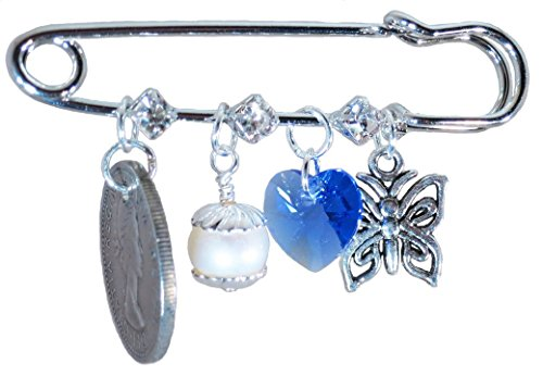 Royal Blue Heart, Butterfly, White Pearl, and Six Pence Bridal Pin by Better Than Buttons