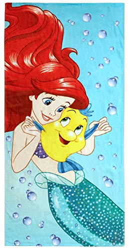 Disney Little Mermaid Princess Kids Bath/Pool/Beach Towel - Featuring Ariel and Flounder - Super Soft & Absorbent Fade Resistant Cotton Towel, Measures 28 inch x 58 inch (Official Disney Product)]()