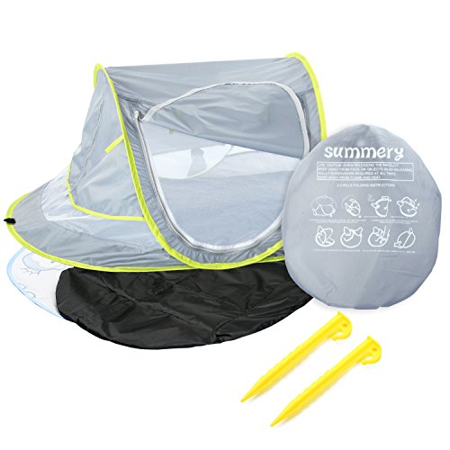 Go Travel Bed - Summery Large Baby Portable Beach Play Tent Provide UPF 50+ Sun Shelter,Baby Travel Bed with Sleeping Pad,Cooling Mat and 2 Pegs,Lightweight Pop up Baby Mosquito Net