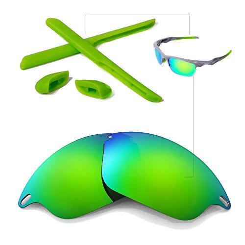 Walleva Polarized Lenses And Rubber Kit(Earsocks+Nosepads) for Oakley Fast Jacket Sunglasses - Multiple Options Available (Emerald Polarized lenses + Green - Safety Lenses Oakley