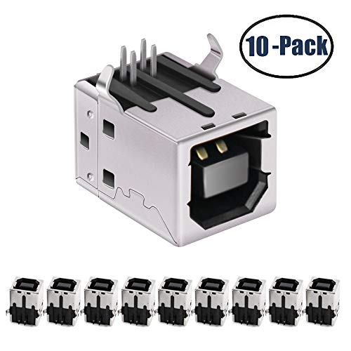 USB Female Type-B Port 4-Pin Right Angle PCB DIP Jack Socket 10 Pack by - Angle Right 4 Pin
