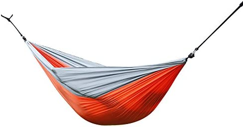 Z ZTDM Camping Hammock, Garden Hammock Portable Ultralight Hammock Nylon Parachute Multifunctional Lightweight for Outdoor Patio Travel Orange Grey