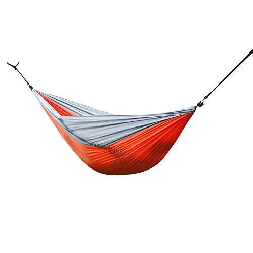 Lovinland Portable Hammock Chair, Hanging Rope Swing Cotton Patio Yard Sky Chair for Indoor Outdoor Use Orange Gray