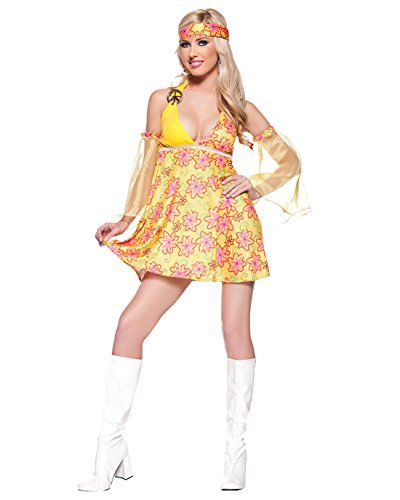 70s Fancy Dress Costumes Ideas (Sexy Babydoll Hippie Costume Yellow Paisley Print 60s 70s Retro Theatre Costume Sizes: Small)