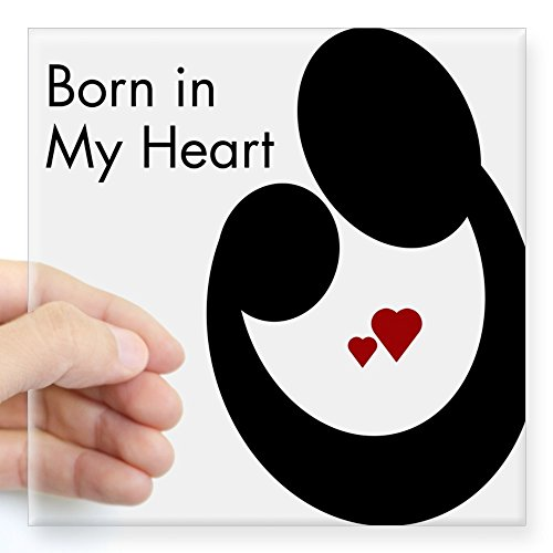 """CafePress Born in My Heart Rectangle Sticker Square Bumper Sticker Car Decal, 3""""x3"""" (Small) or 5""""x5"""" (Large)"""