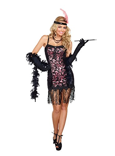 Dreamgirl Women's Cotton Club Cutie Costume, Black/Pink, Medium