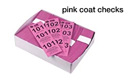 Winco Coat Checks, Pink, 500 Per Box, Set of 5 Boxes