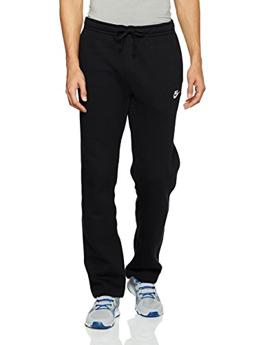Sweatpants Cotton Blend (NIKE Sportswear Men's Open Hem Club Pants, Black/White, X-Large)