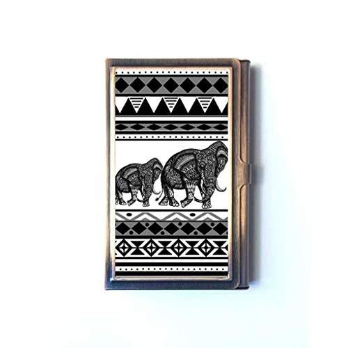 (Aztec African Elephant Black White Tribal Animal VTG Design Business Credit Name Card Case Box Metal Stainless Steel Business Name Card Holder)