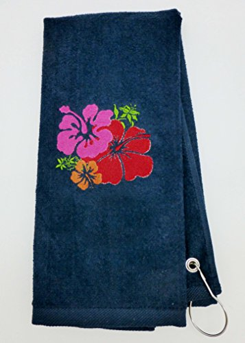 Mana Trading Custom Personalized Embroidered Golf Towel HAWAIIAN HIBISCUS FLOWERS (Navy Blue)
