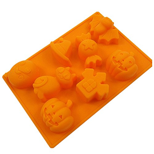 Wocuz Halloween Silicone Candy Ice Cube Mold Trays Ghost Pumpkin Baking Mold(5.43.80.6inch)