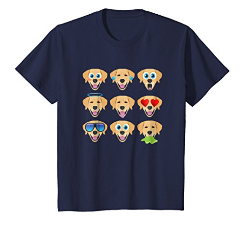 Kids Funny Lab Tees -Nine Emoji Golden Retriever Dog Face T-Shirt 6 Navy - Dog Themed Clothing