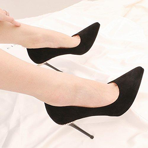 KPHY Seguido por un Fino Resorte de Agua Taladro con Punto de luz único Zapatos Impermeable Taiwán de Tacón Alto Hembra 35 Negro 10 cm