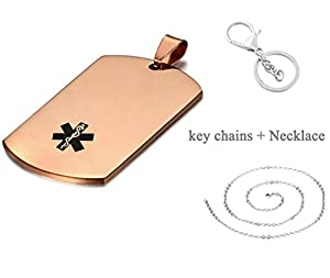LiFashion LF 316L Stainless Steel Sos Emergency ICE Customized Personalized Medical Alert Pendant Necklace Medical ID Dog Tag Caduceus Keychain for Men Women Rose Gold,Free Engraving Custom