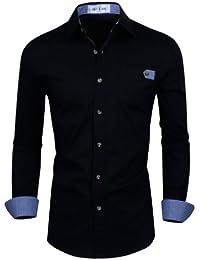 "<span class=""a-offscreen"">[Sponsored]</span>Mens Classic Slim Fit Checkered Contrast Long Sleeve Dress Shirts"