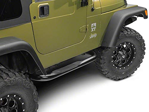 (Redrock 4x4 3 in. Round Side Step Bars - Gloss Black - for Jeep Wrangler YJ & TJ (Excluding Unlimited) 1987-2006)