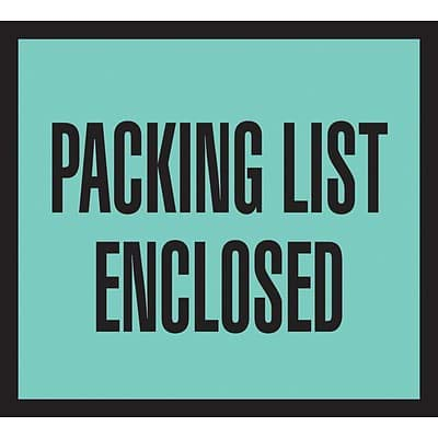 Packing List Envelopes, 4-1/2 x 5-1/2, Green Full Face Packing List Enclosed - 1000/Carton (3 Cartons)