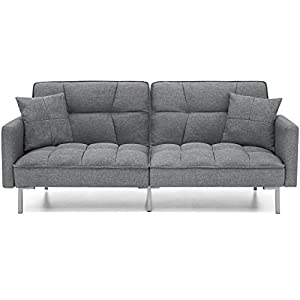 Best Choice Products Convertible Futon Linen Tufted Split Back Sofa With Pillows, Dark Gray