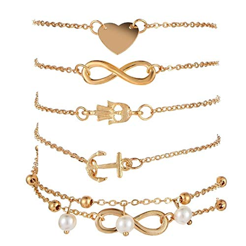 Phima Cowrie Shell Anklets Bracelets for Women Sea Turtle Infinity Heart Rhinestone Bohemia Ankle Bracelets for Girls Beach Foot Jewelry (O: Gold Infinity) ()