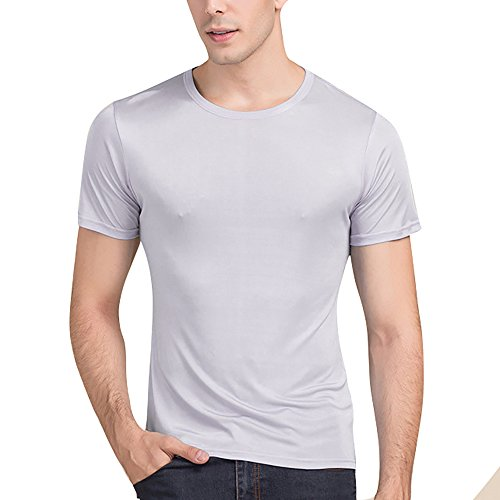 Silk Cotton Crewneck T-shirt - LingDooo Men's Pure Silk Shirt Soft Breathable Sport Basic T-Shirt Summer Short Sleeves Top (XS(Tag M), Grey)
