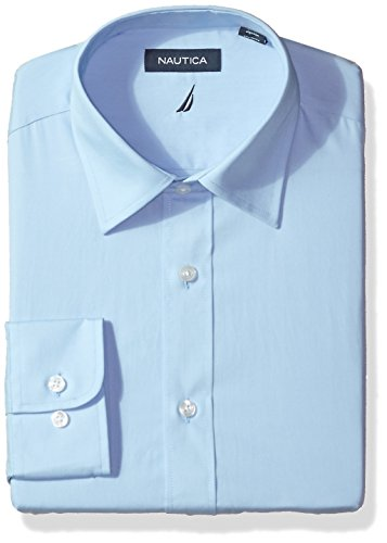 Nautica Men's Classic Performance Solid Poplin Spread Collar Dress Shirt, Light Blue, 15.5