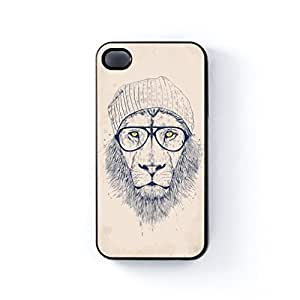 Cool Lion Black Hard Plastic Case for Apple? iPhone 4 / 4s by Balazs Solti + FREE Crystal Clear Screen Protector