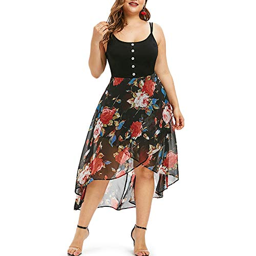 KCatsy Floral Overlay High Low Plus Size Dress Black]()