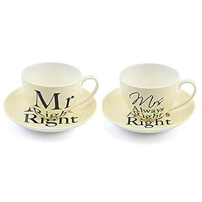 "Elegant ""Mr Right"" & ""Mrs Always Right"" Teacup & Saucer Set by Haysom Interiors"
