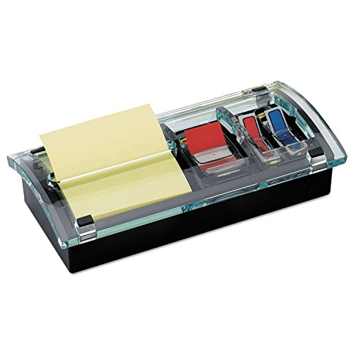 Note and Flag Dispenser, 3 x 3 Canary Notes and Assorted Flags, Black Dispenser by 3M